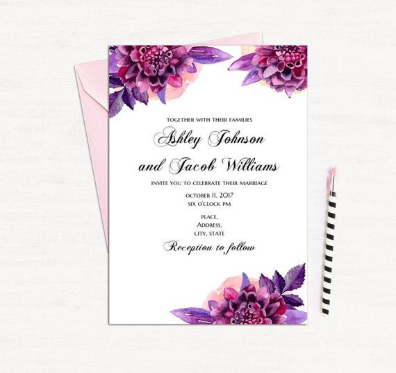 Purple floral invitation template Wedding by CardsForWedding - downloadable invitation templates