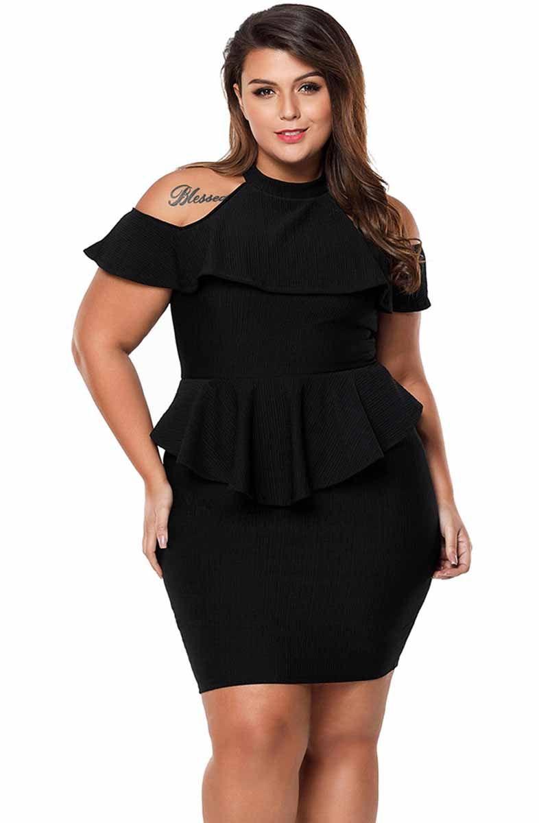 Women S Black Cold Shoulder High Neck Plussize Mini Dress In Peplum Style Bodycon Ruffle Plus Size Mini Dresses Plus Size Party Dresses Plus Size Fashion [ 1200 x 786 Pixel ]
