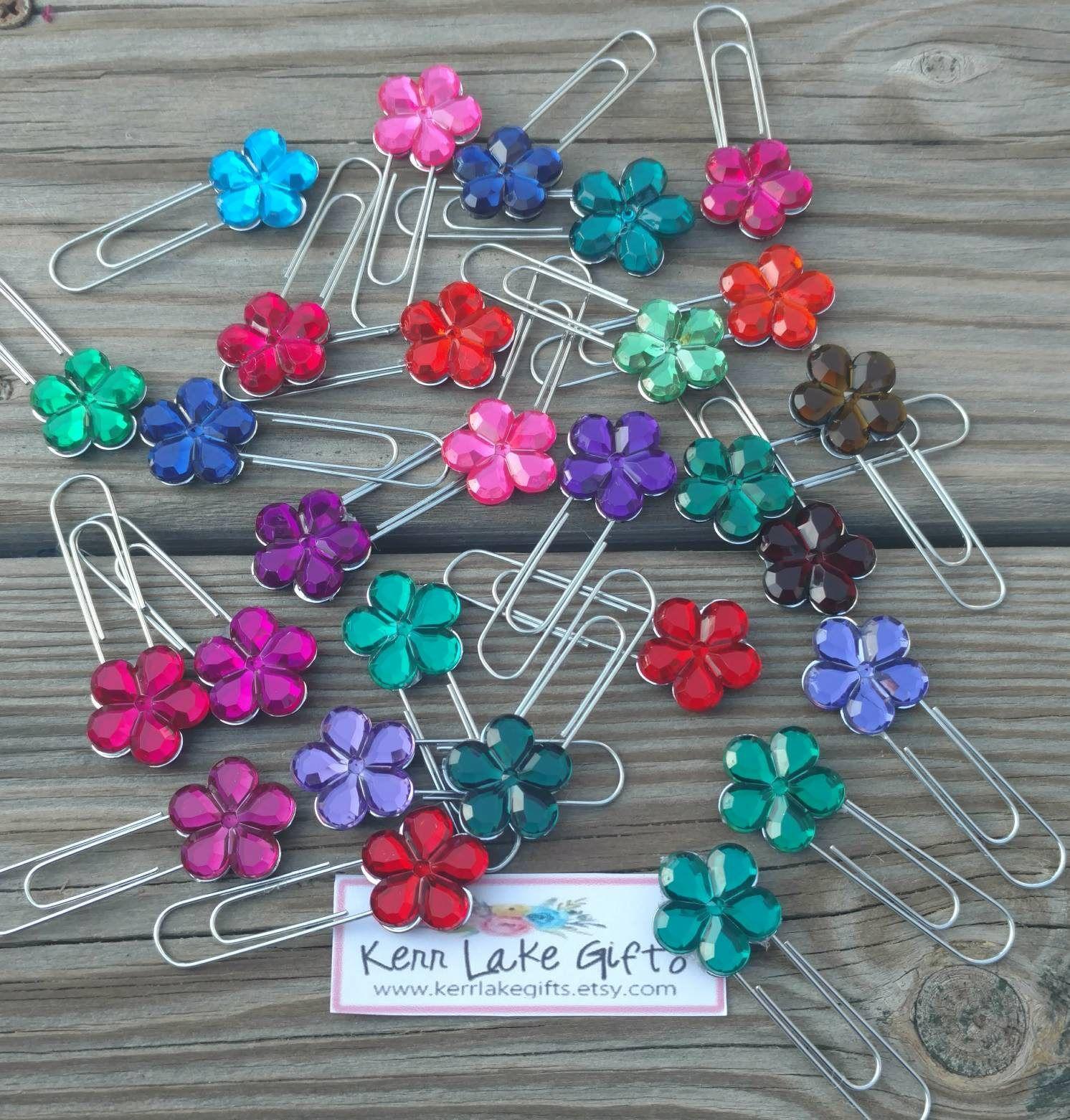 Flower Gem Paper Clips, Cute Office Supplies, Cute Paper Clips, Flower  Paper Clips