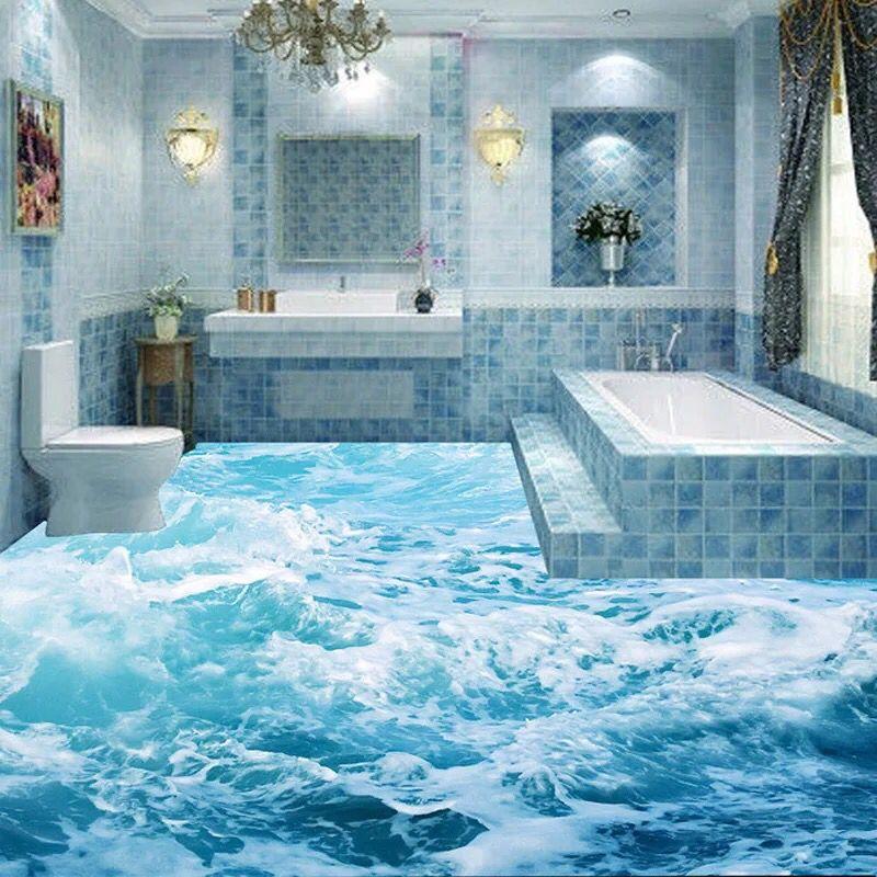 Modern 3D floor painting mural Beach blue sea water ripples non-slip ...