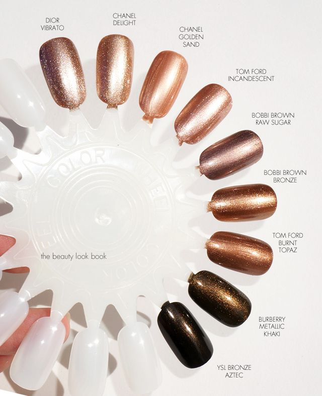 The Beauty Look Book Color Focus Bronze And Metallic Nail Lacquers Metallic Nails Bronze Nails Nail Lacquer