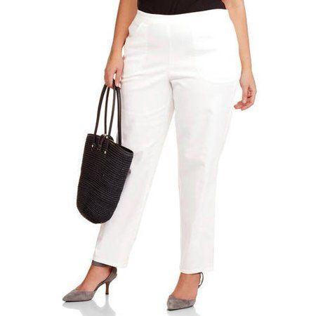 9cdc323c551 Women s Plus-Size 2-Pocket Pull-On Stretch Woven Pants
