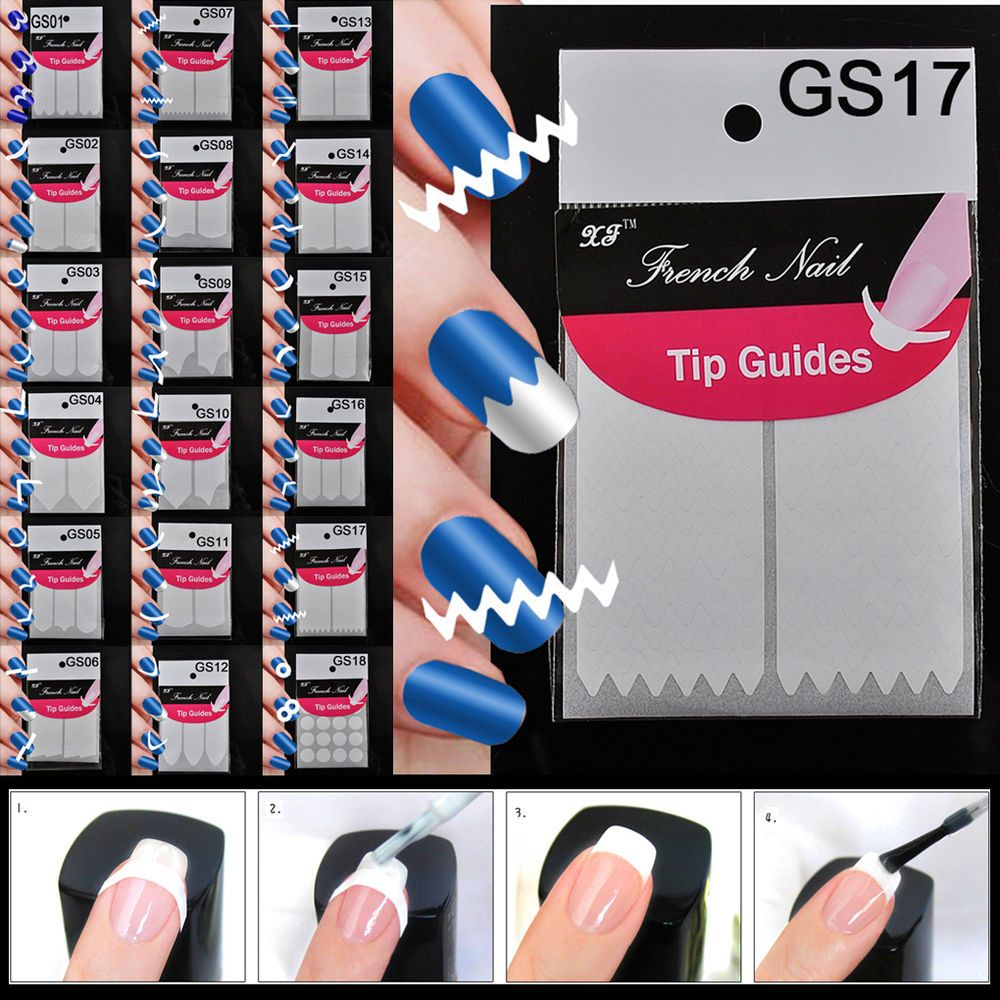 5pcs 18 Style Chic DIY French Manicure Nail Art Tips Tape Sticker ...