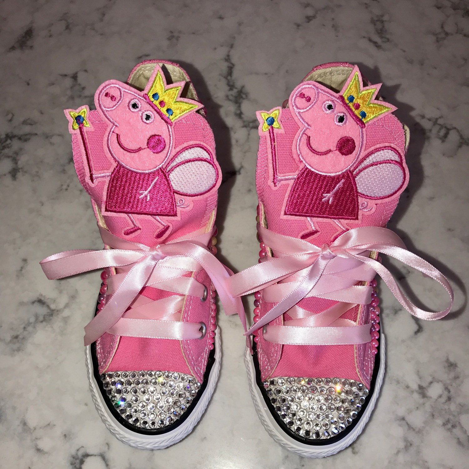 Custom Peppa Pig Converse by CalisMomByShannon on Etsy
