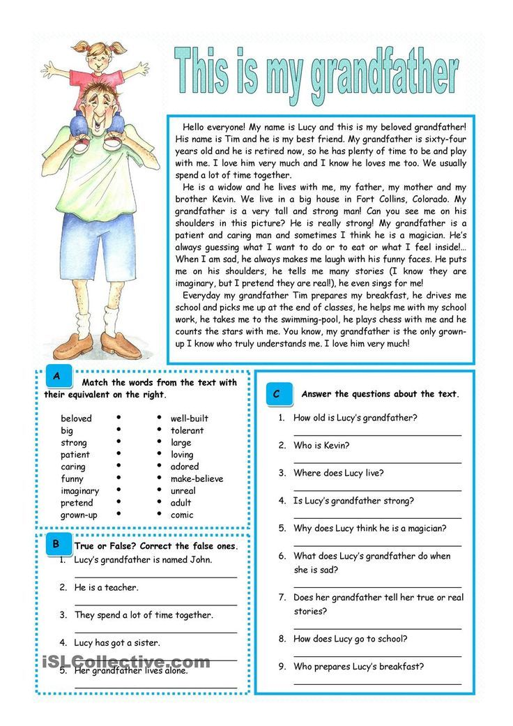 Image result for reading comprehension grade 2 on family