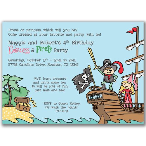 Pirate and Princess Invitations for Kids Birthday Party – Princess and Pirate Birthday Invitations