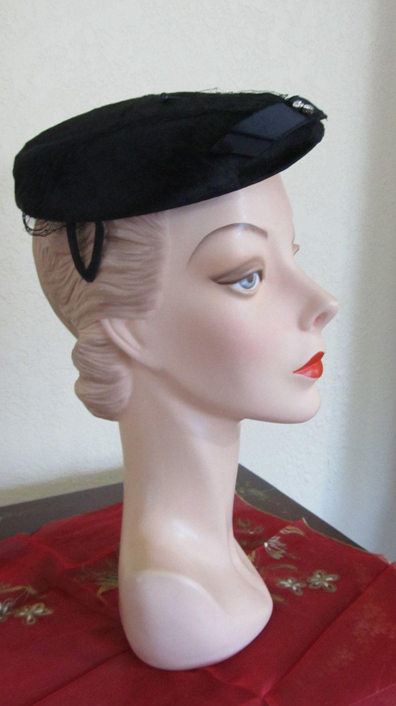 185574b290f68 VINTAGE WWII 1940 s Era Fuzzy Black Church Day Evening Hat with Rhinestones  by PrimaMona on Etsy
