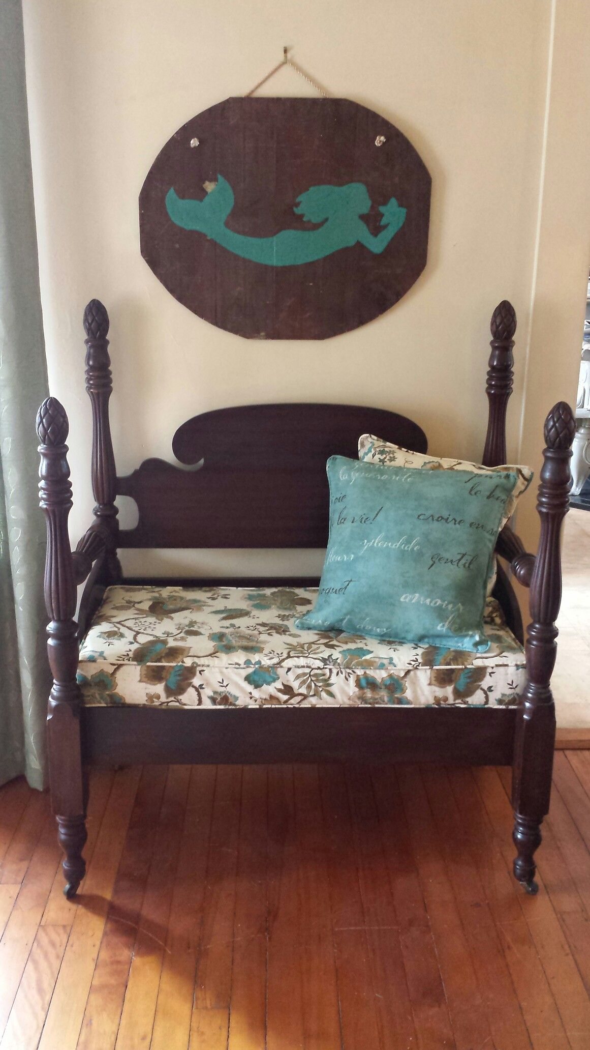 Pineapple Bed turned Bench & Mermaid Wall Hanging Bed