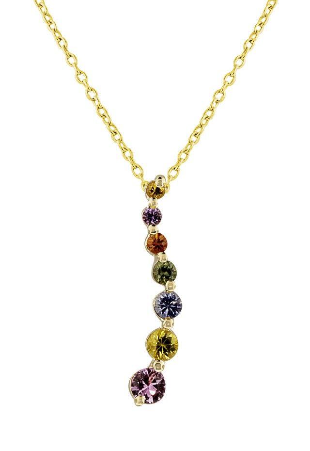14k yellow gold multi sapphire journey pendant 94 tcw necklaces 14k yellow gold multi sapphire journey pendant 94 tcw necklaces pendants aloadofball Images