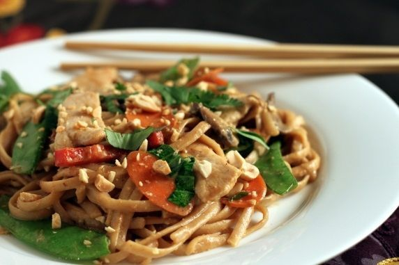 Asian Peanut Noodles With Chicken and Vegetables. def. cold