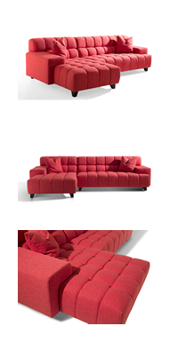 Modern Red Tufted Fabric Sofa Small Corner Contemporary Living Room Sofa Cocheenfurniture Tuftedsofa Redsofa Sectionalsofa Corners In 2020 Fabric Sofa Corner Sofa Fabric Corner Sofa
