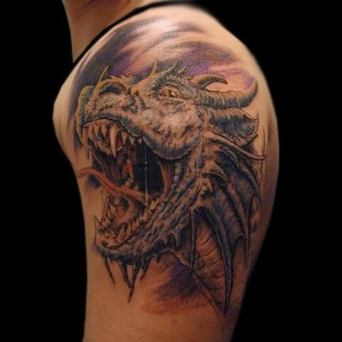Cool Dragon Head Tattoo On Man Left Shoulder Dragon Head Tattoo Dragon Tattoo Realistic Head Tattoos