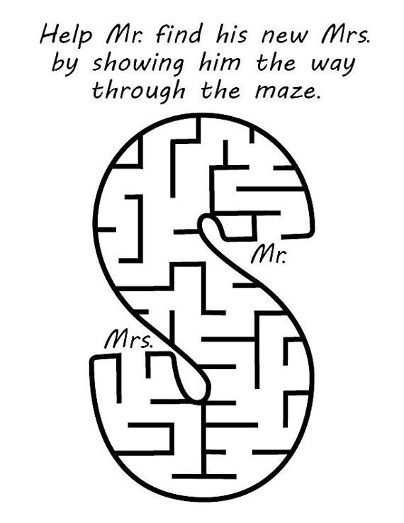 Maze for Wedding Coloring Book by BrittsDesignAndBeads on Etsy ...