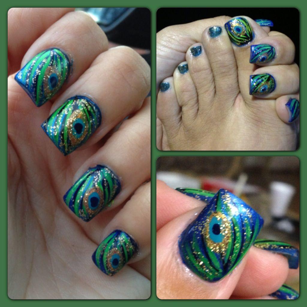 Pin By K Hannah On Nails Peacock Nails Cute Nail Designs Fingernail Polish Designs
