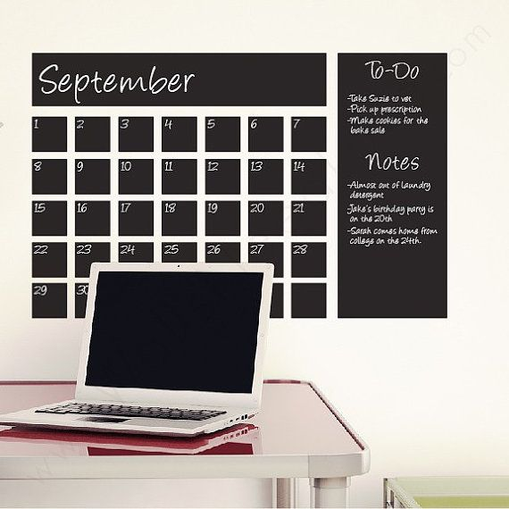 Chalkboard Calendar Wall Decals Chalkboard calendar, Chalkboards