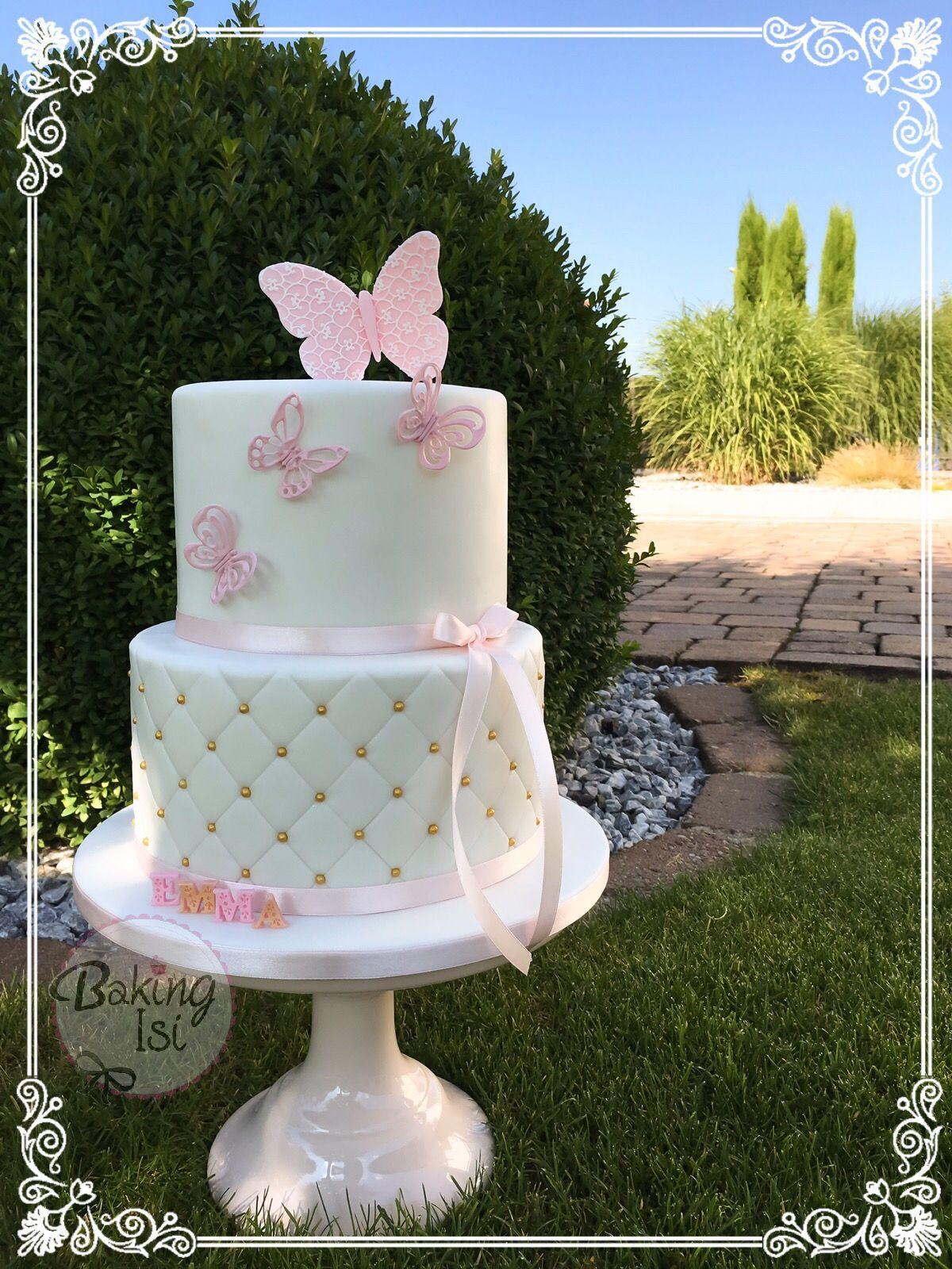 Christening Cake Baptism Butterfly Butterflies Pink Gold