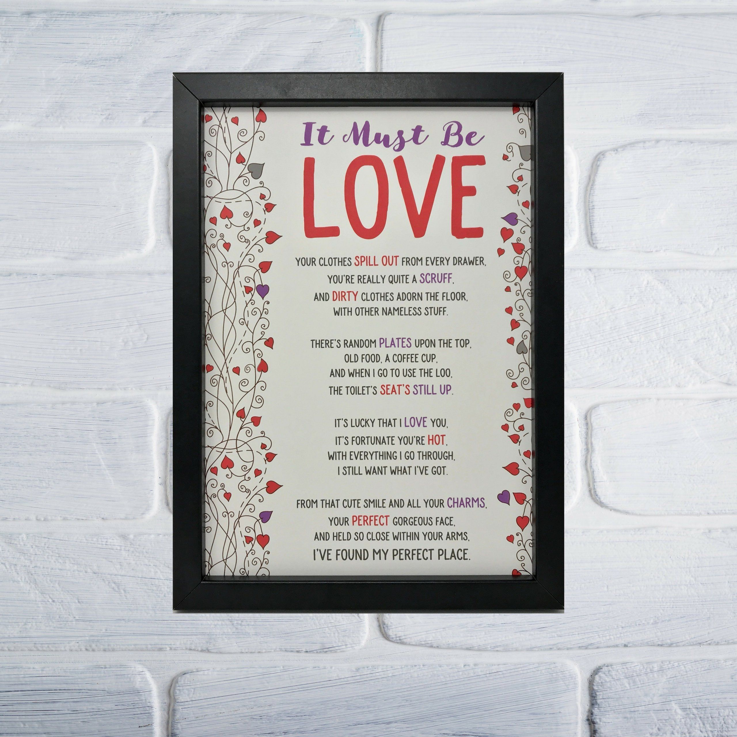 Funny Love Poem Framed, Valentines Print, Personalised Love