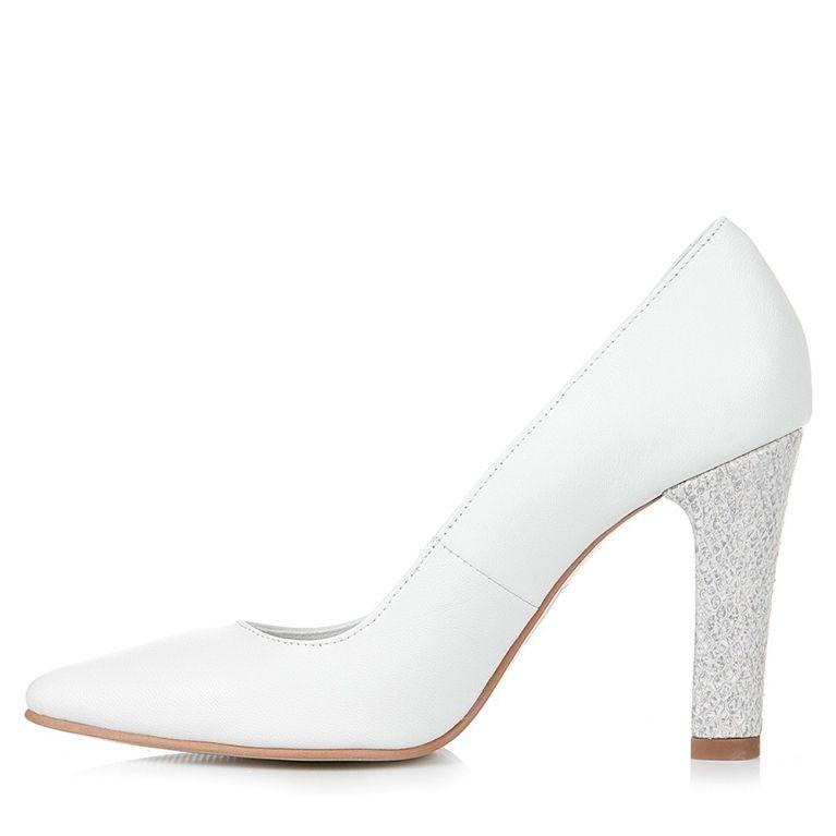Pantofi Mireasa Albi Cu Toc Gros Snake Clara In 2019 Nunta Shoes