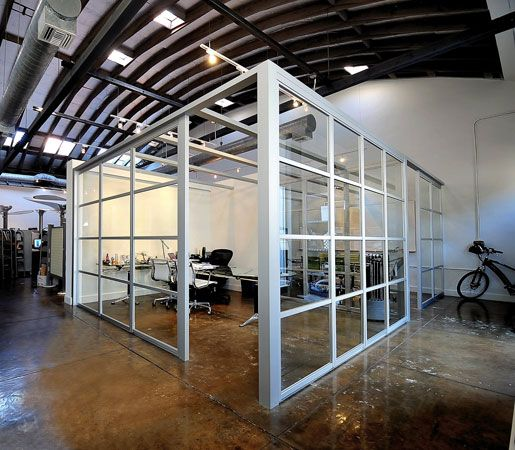 Love these glass partitions for office spaces the sliding for Office interior partition design