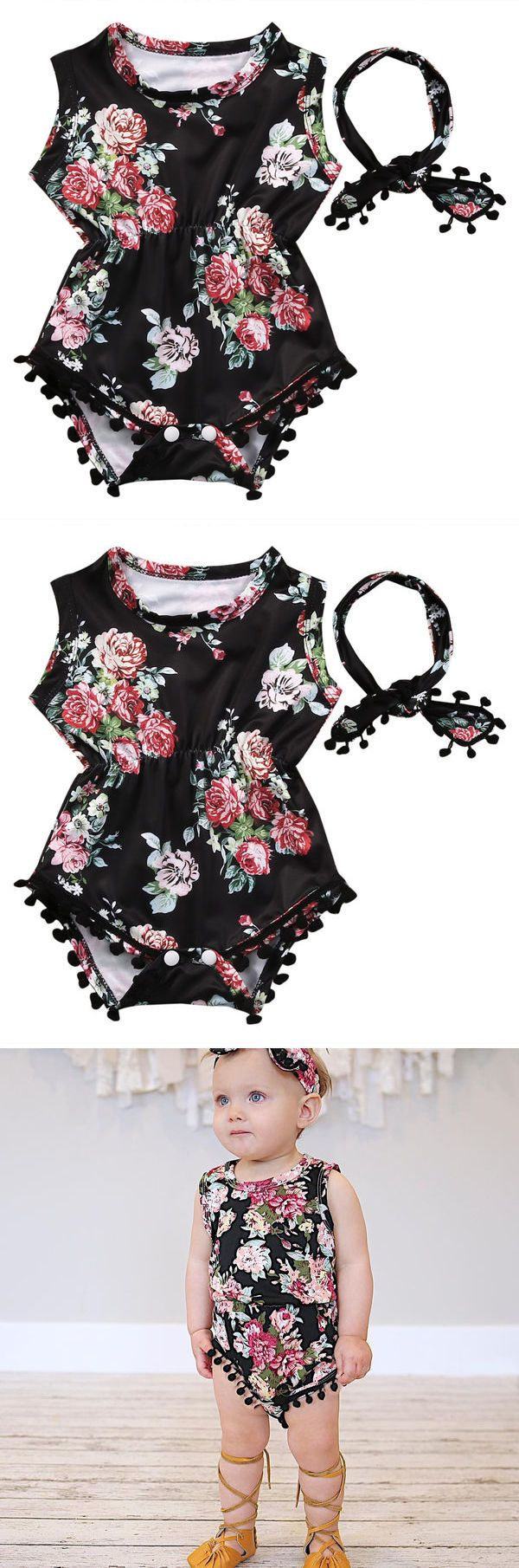 Romper Clothes Floral Tassel Bodysuit Jumpsuit Headband 2PCS Outfit Sunsuit Tracksuit Clothing Set