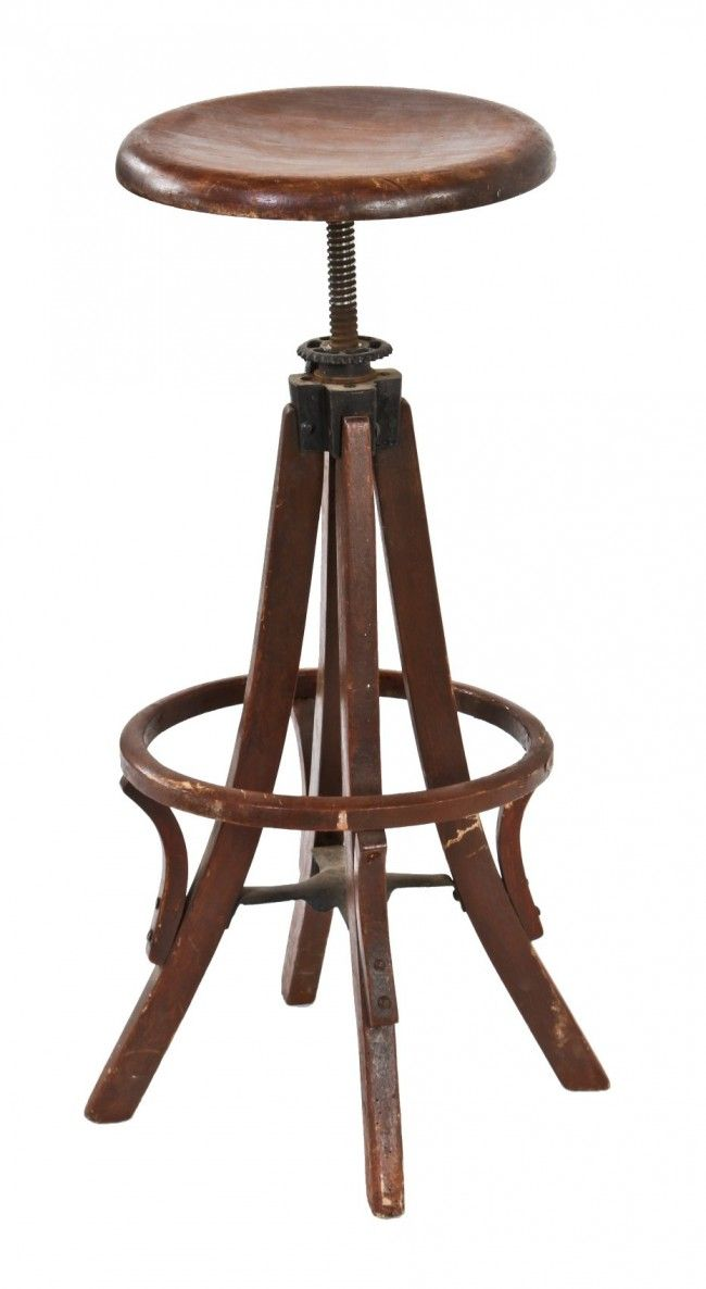 Wood Drafting Stool all original early 20th century american antique industrial