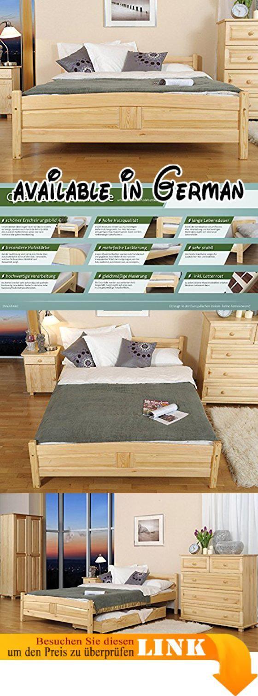 Wohndesign schlafzimmer einfach beelhg  bettgestell  gästebett kiefer vollholz massiv natur