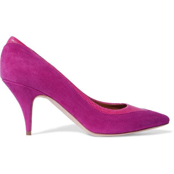 Malone Souliers Croc-effect leather-trimmed suede pumps (£259) ❤ liked on Polyvore featuring shoes, pumps, violet, violet shoes, mid-heel pumps, suede pointy toe pumps, suede leather shoes and slip on shoes