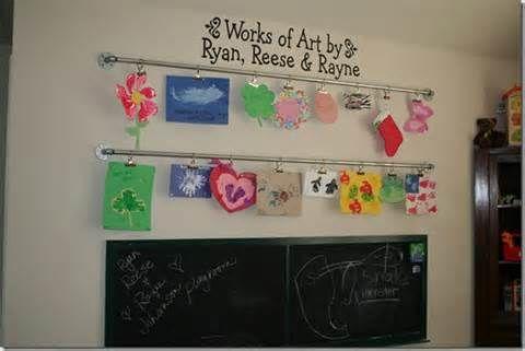 Kids Art Display Diy On Curtain Rod