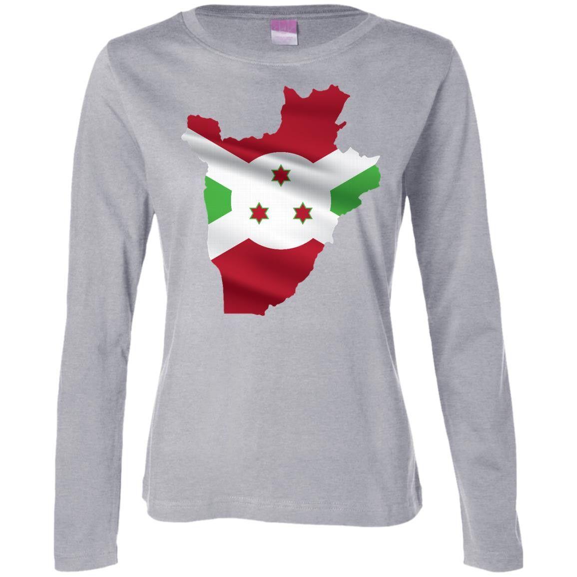 Burundi flag -01 Ladies' Long Sleeve Cotton TShirt