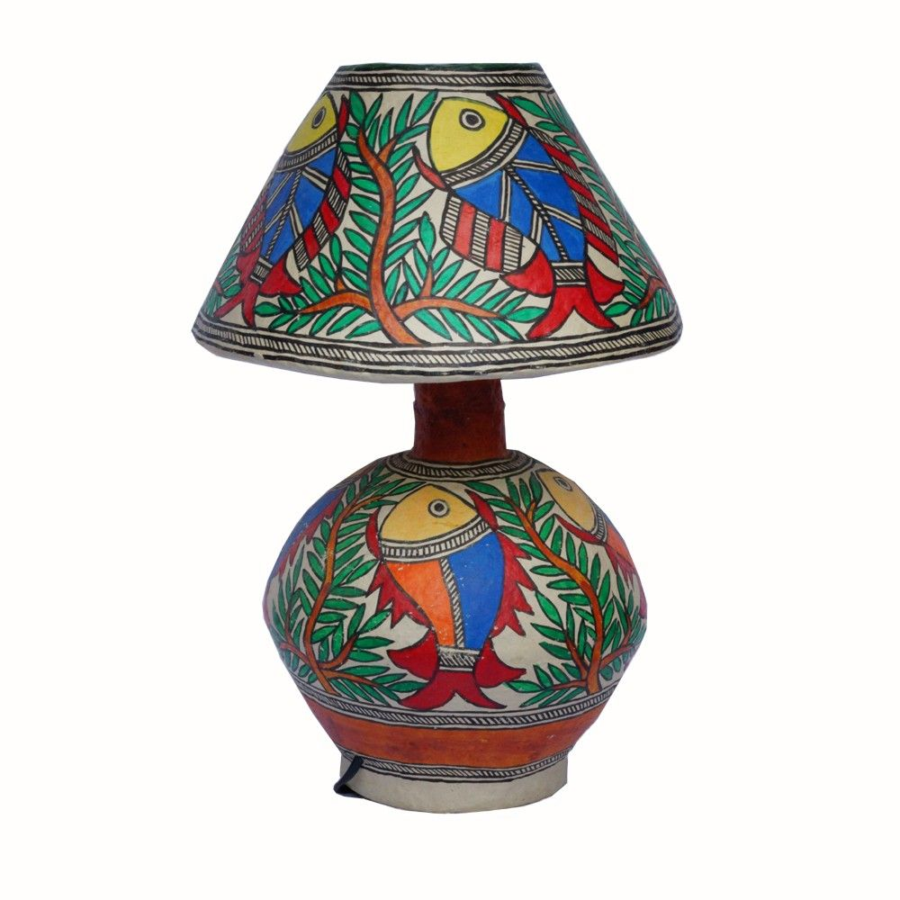 Lamp Stand Madhubani Painting On Papier Mache By Handmade Gifts Online Gifts Indian Handicrafts Handcrafted Gifts Lamp Hand Crafted Gifts Indian Gifts