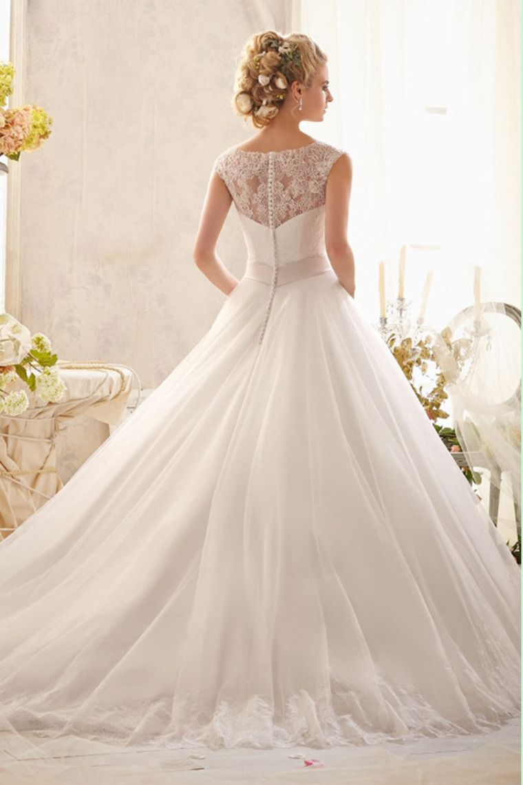 2014 Off The Shoulder Lace Bodice Wedding Dress A Line Tulle Skirt Chapel Train With Ribbon Beaded