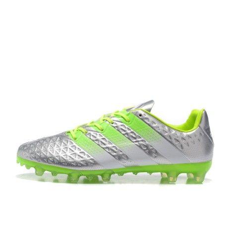 new product d01d9 15a32 Vente Adidas ACE 16.1 FG AG Argent Vert Chaussures De Foot