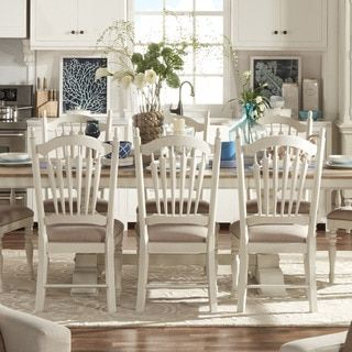 For Tribecca Home Mckay Country Antique White Slat Back Dining Chair Set Of 2