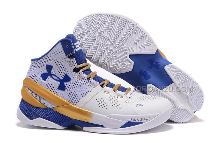 Under Armour Curry 2 White Blue Gold Shoes For Sale, Price: $98.00 - New  Air Jordan Shoes 2016