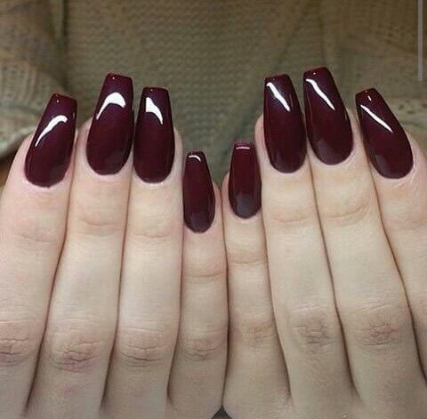 Image Via We Heart It Dark Long Nails Plum Square Burgundy Nails Trendy Nails Red Nails