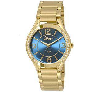 43a5ea4f57 Relógio Feminino Condor Analógico Com Cristais Swarovski Co2035Krg 4A  Dourado