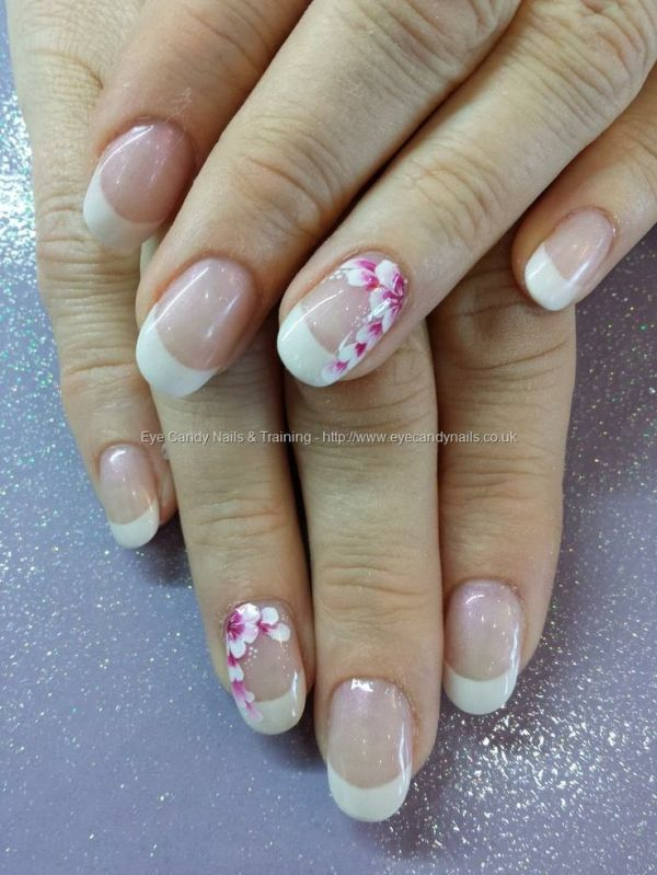 White Acrylic French Tips With One Stroke Flower Nail Art By Sonalsogani
