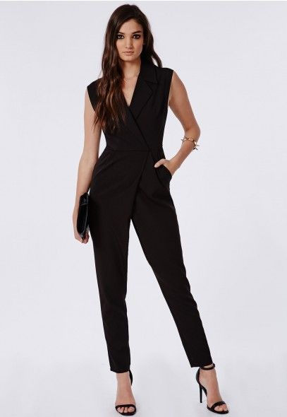 fd81b394c917 Missguided TAILORED WRAP LAPEL JUMPSUIT BLACK.. On my Buy ASAP list ...