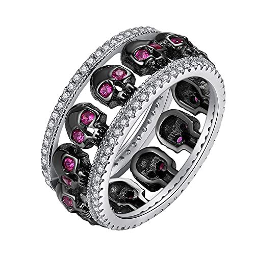 EVBEA Thumb Rings for Women Promise Engagement Skull Wedding Bands with Cubic Zirconia DESIGN:Cool black skull heads with big shining purple stone as its eyes. Numerous CZ decorated on its both sides.Shining and attractive. MATERIAL: NEVER turn green or fade.Delicate,stunning.Every CZ is well fixed and hard to fall down. CRAFTS:You will definitely marvel at the fine work of our chief smith.Even the teeth of the skulls are well curved.What a Masterpiece! PACKAGE:Come with an exquisite black jewel