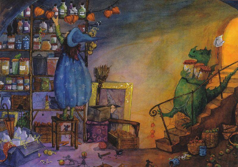 Daniela Drescher: Witch Girl and dragon - Huuto.net