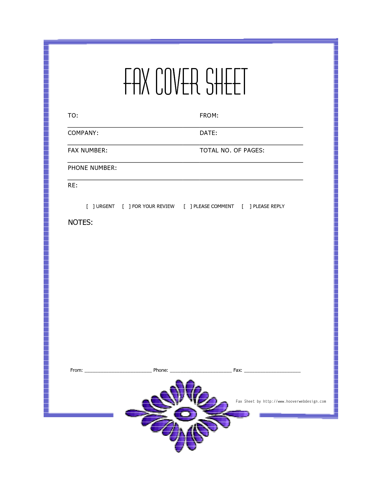 Free Downloads Fax Covers Sheets – Sample Blank Fax Cover Sheet
