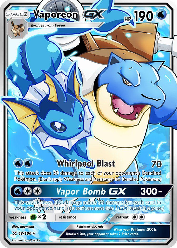 Vaporeon Gx Custom Pokemon Card Pokemon Cards Rare