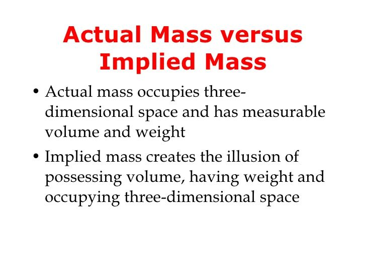 Actual Mass Versus Implied Mass Ul Li Actual Mass Occupies Three
