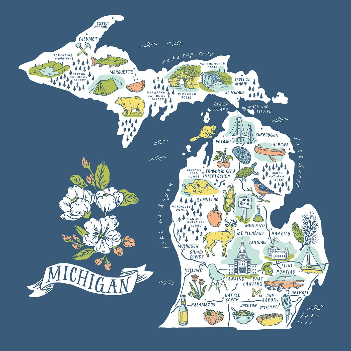 An Illustrated Map Of Michigan Designed For City Bird This Map