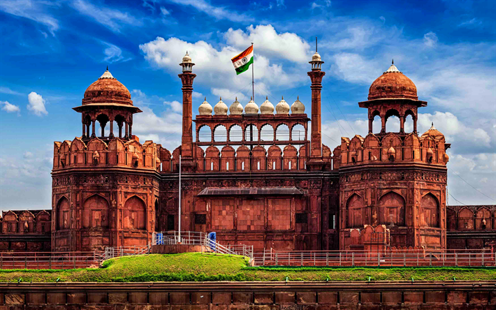 Download Wallpapers Red Fort 4k Indian Landmarks Delhi Asia India Besthqwallpapers Com Red Fort Delhi Red Fort Monument In India