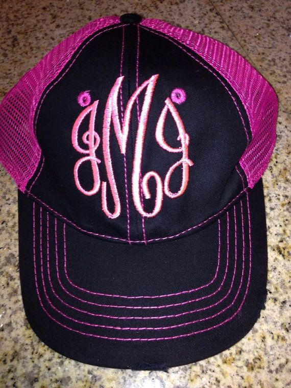 Items similar to 3 Initials Hat Cap Lid truckers Monogrammed a Wedding  Party Hat Customized Embroidery Your Name personalized gifts Front Side and  Back on ...