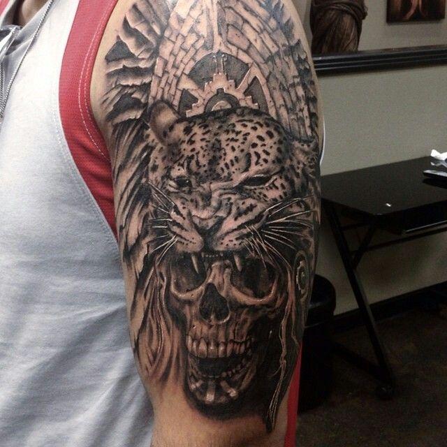 Jaguar And Skull Tattoo Aztec Tattoos Sleeve Jaguar Tattoo Mayan Tattoos