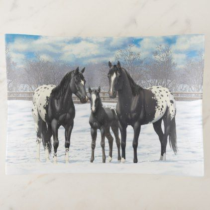 Black Appaloosa Horses In Snow Trinket Trays - black gifts unique cool diy customize personalize