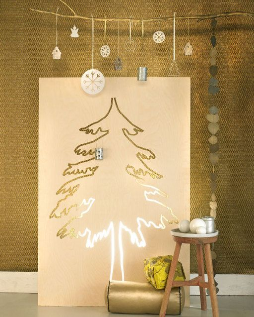DIY Christmas tree and festive decorations.