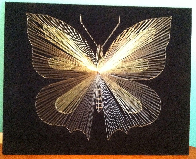 butterfly string art w different color accents fils tendus pinterest fils fil tendu et. Black Bedroom Furniture Sets. Home Design Ideas